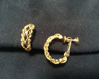 Clip On Napier earrings filigree hoops adjustable clip on