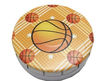 12 Basketball Party Favors Tins Snap Push Top Round White Empty