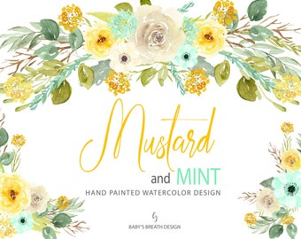 Watercolor Mustard and Mint Flower Clip Art Hand Drawn Flowers
