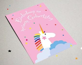 Invitation card Einhorn, children's birthdays, magical, Rainbow, modern invitation card, pink, Unicorn, graphic design