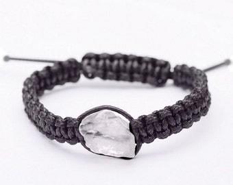 Raw Quartz Macrame Bracelet