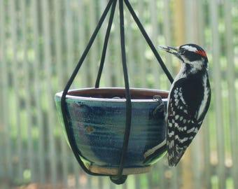 Handmade recycled hanging bird feeder. Bird seed. Pottery bird feeder.  Gift.