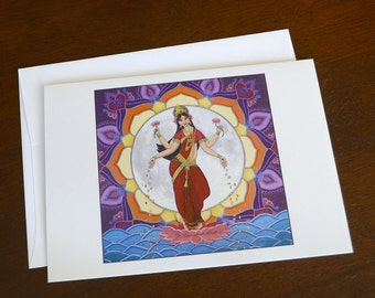 Notecard, 5x7, Lakshmi, Blank Inside, Single Card, Envelope Included, All Occassion, Original Art, Goddess, Dancing by the Light of the Moon