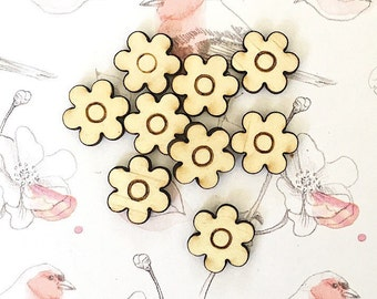 10x FLOWER WOOD CUTOUT - Laser Cut Flower Natural Wood Shape With Engrave Detail 13mm