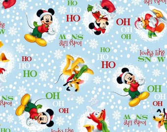 """End of Bolt, Mickey Mouse Looks Like Snow Cotton Fabric by Disney for Springs Creation, Christmas Mickey Mouse 16""""x44"""""""