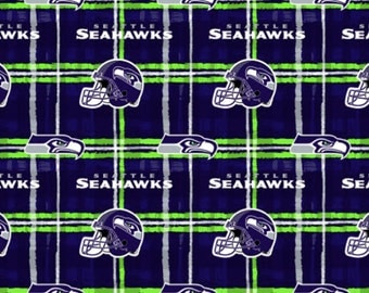 Seattle Seahawks FLANNEL Cotton Fabric  - NFL Flannel Collection by Fabric Traditions