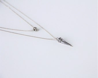 Minimalist necklace silver double chain - minimalist necklace - double chain necklace - silver necklace