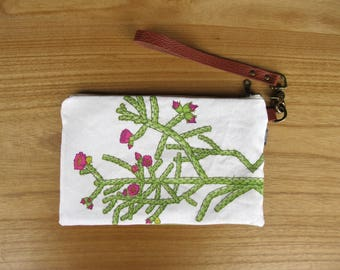 Cholla Cactus Clutch - Zipper Pouch, Brown Leather Detachable Strap. Bridesmaid Gift, Gift for Her. New Mexico Southwest Desert Cactus Gift
