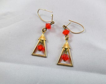 Vintage Art Deco Gold Vermeil Earrings with Orange Crystals