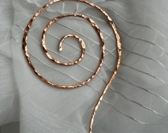 Graceful swirling hammered aged or shiny copper shawl pin scarf pin