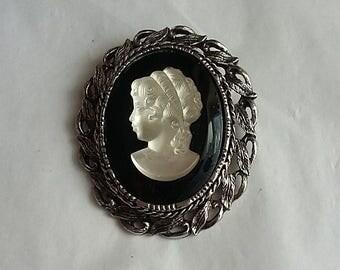 Vintage Cameo Brooch White Figure on Black Background, Silver Frame, 1950's