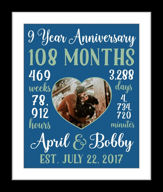 9 years together gift print countdown 9 year anniversary 9 year anniversary gift