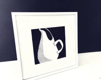 Russel Wright pitcher. Black and white silkscreen print by Liza Cowan.