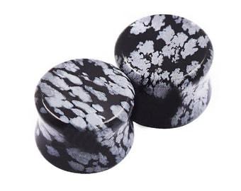 2 Plugs Snowflake Obsidian + 6-16mm + Stone