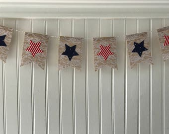 Patriotic bunting, 4th of july banner, 4th of july decor, burlap banners, red, white and blue banners, buntings, stars banner, star decor,