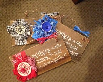 Rustic Mother, Button, Flower, Mothers Day Sign