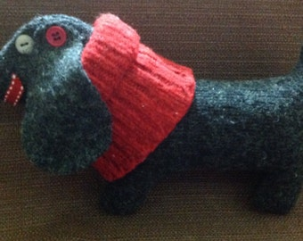 Stuffed Toy Dog--Charcoal and Red Felted Wool