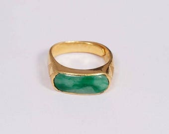 24K Yellow Gold Jade Ring size 8.5
