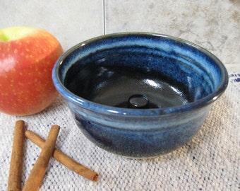 Black & Blue Apple baking dish, cookware, bakeware, apple baker, made in Montana, Stoneware bakeware, blue pottery