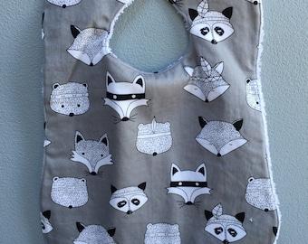 Fox - Baby Bib, Toddler Bib, Handmade Bib, snap fastener bib, baby gift, toddler gift, baby shower