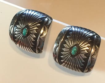 Vintage Sterling Silver Turquoise Oxidized Concho Hoop Earrings
