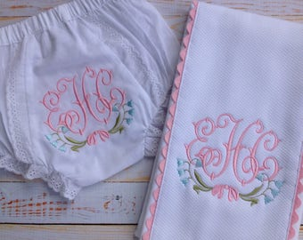 Bluebell Monogram Baby Bloomer and Burp Cloth Set