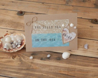 she sells sea shells on the sea shore card,seashell card,beach themed card,seashell collectors card,beachcombers card,sea quote card