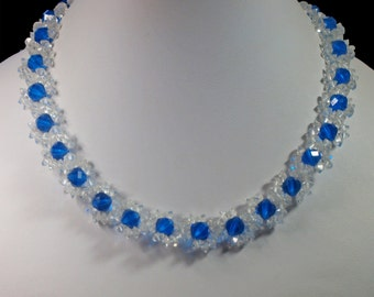 Vintage, Blue & Clear Glass Beaded Floral Necklace (2719)