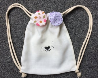Dog Mini.Re.Pack. backpack, Recycled backpack, upcycled bag, street backpack, drawstring backpack, kids pack