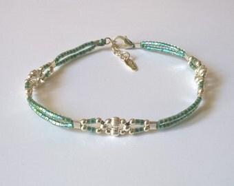 Woven retro silver bracelet 925 miyuki turquoise
