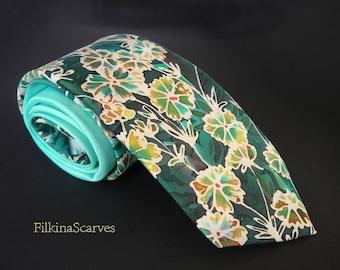 Mens tie Mens Necktie Mens SILK Tie Field Flowers Mint tie Wedding Tie Mens tie Mens Gifts Hand Painted Tie Handpainted groomsmen tie FS 18