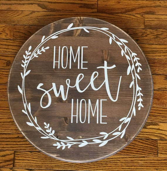 50 Farmhouse Style Gift Ideas From Etsy: Home Sweet Home Round Wood Sign Farmhouse Decor Rustic