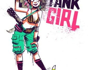 Tank Girl Digital Art Print - Tank Girl Boom Box 8.5x11 Digital Print