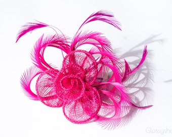 Pink Fascinator 2 in1 Hair Clip and Brooch