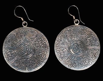 Eight Luck Symbol (Ashtamangala) and Om Earrings, Silver