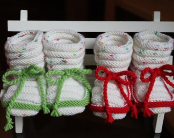 hand knitted baby booties; Babystomper