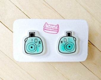 Blue camera kawaii earrings, polaroid earrings, kawaii gift idea, pastel light blue, steel stud posts, handdrawn earrings, photo jewelry,