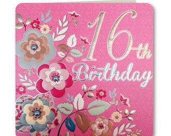 Sale! 70% off Was 3.25 now 0.98p Festive Folk Collection - Happy 16th Birthday - Birthday Card for Her -16th Birthday Card -Handmade -  FE66