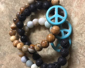 Turquoise Peace Sign Beaded Bracelets