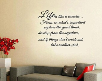 Life Is Like A Camera Vinyl Wall Stickers Quote Art Decals Removable Room Decor