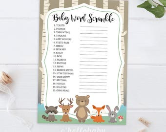 Baby Word Scramble Woodland Animals Baby Shower Game - Gender Neutral Baby Shower Party - Woodland Baby Shower - 008