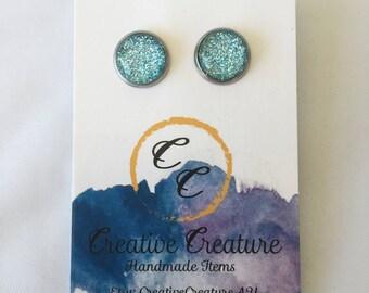 Light blue glitter studs
