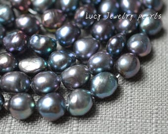 DIY wholesale pebble pearl necklace,large hole pearl,freshwater pearl 10.5-11.5mm peacock blue modern pearl 30pcs wedding Full Strand LY5063