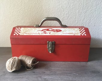 Red Steel Tool Box w/ Race Car #14 Graphic, vintage red toolbox, rusty gold