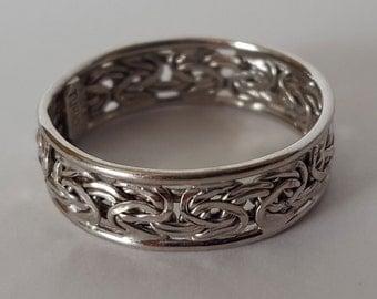 14k White Gold Filigree Band Ring, size 10, Byzantine Link Filigree, Hallmarked AK Turkey
