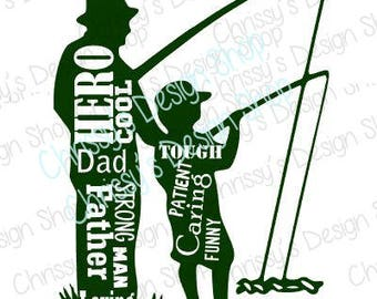 Fishing dad and son svg / fishing knockout svg / word art svg / dxf / pdf / eps / hero dad svg / vinyl crafting / father and son / dad svg
