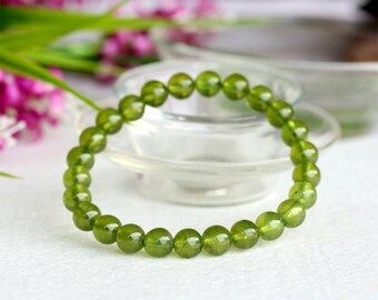 Natural Genuine Olive Green Idocrase Stretch Finish Bracelet Round Beads 7mm 8mm 04028