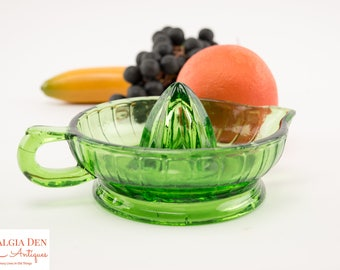 Antique Juicer | Five Inch Green Glass | Fruit Reamer