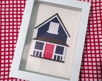 Custom Cut Paper House Shadowbox