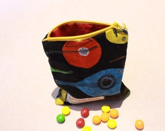 Mini Organic snack bag | Guitars Organic reusable bag | Organic fabric | Snack bag with zipper | make up bag | makeup pouch